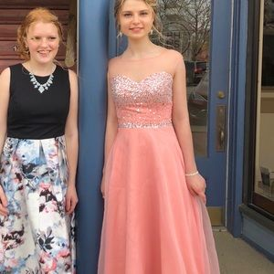 Pink Prom Dress with Sleeves